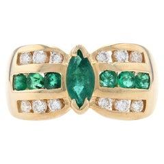 Yellow Gold Emerald & Diamond Ring, 14k Marquise Brilliant Cut 1.51ctw