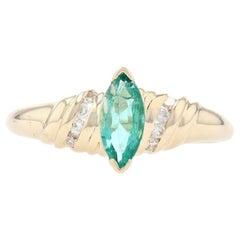 Yellow Gold Emerald & Diamond Ring, 14k Marquise Cut .53ctw