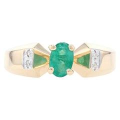 Yellow Gold Emerald & Diamond Ring, 14k Oval Cut .50ct