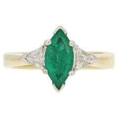 Yellow Gold Emerald & Diamond Ring, 18k Marquise Cut 1.40ctw