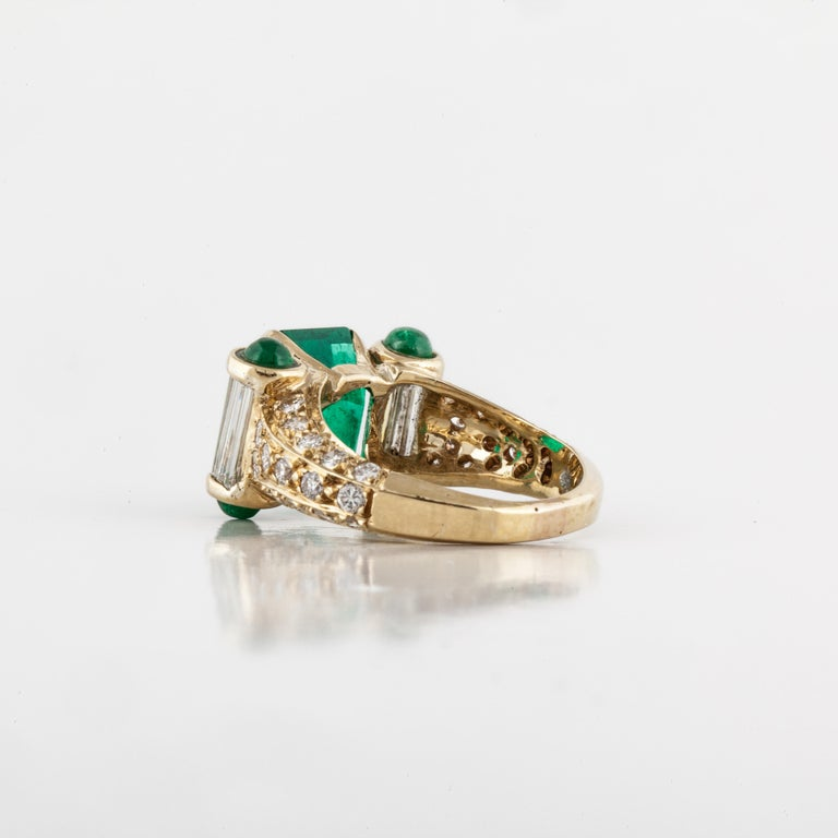 Women's or Men's Yellow Gold Emerald Diamond Ring For Sale