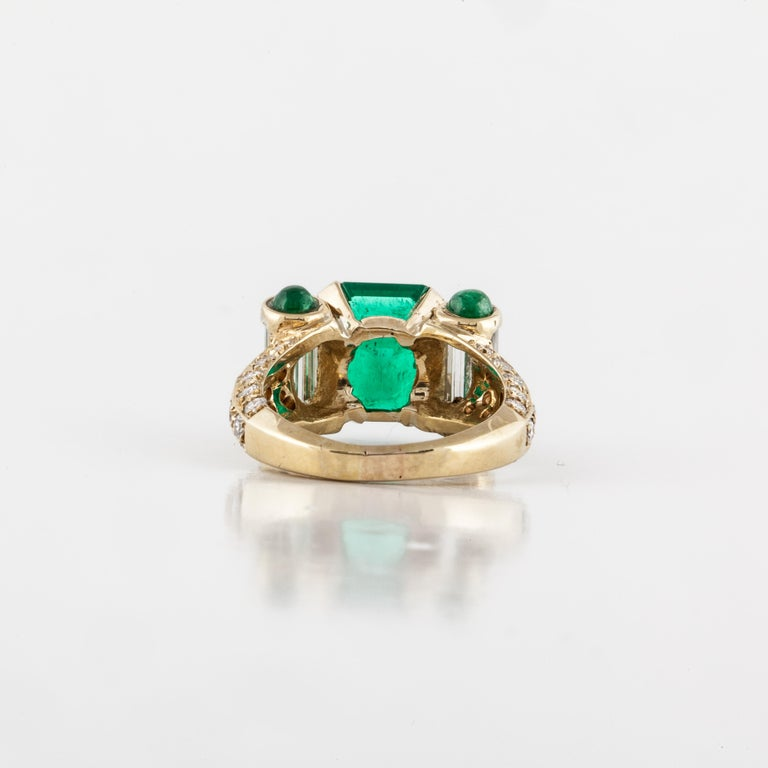 Yellow Gold Emerald Diamond Ring For Sale 1