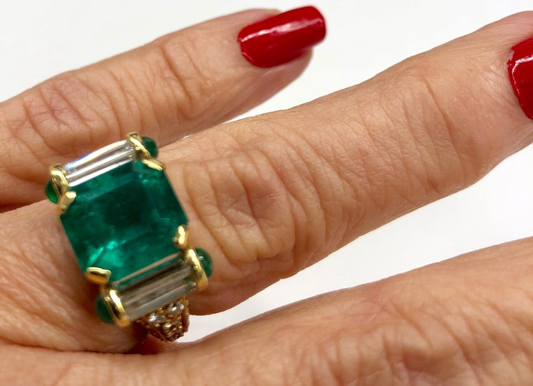 Yellow Gold Emerald Diamond Ring For Sale 2