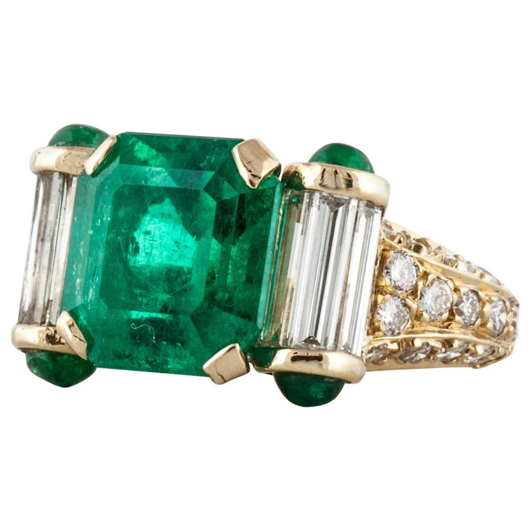 Yellow Gold Emerald Diamond Ring For Sale