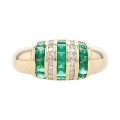 Yellow Gold Emerald & Diamond Stripe Dome Band, 18k Square 1.90ctw Ring