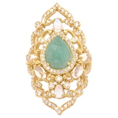 Yellow Gold Emerald Moonstone and Diamond Ring