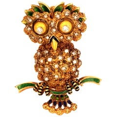 Yellow Gold Enamel and Diamond Owl Brooch