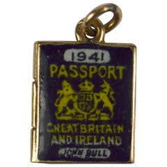 Yellow Gold Enamel British Passport of Love Charm Pendant
