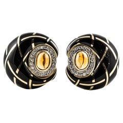 Yellow Gold Enamel Citrine Diamond Earrings