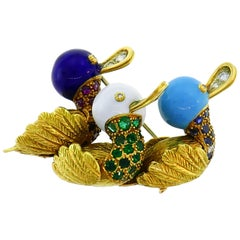 Yellow Gold Enamel Duck Pin Brooch Clip, French 1950s with Ruby Emerald Sapphire