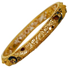 Yellow Gold Enamel Peacock Bangle Bracelet