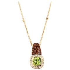 Yellow Gold Enamel, Peridot and Diamond Pendant Necklace