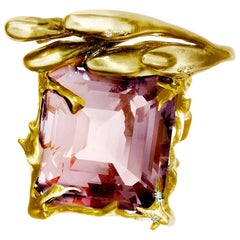 Yellow Gold Engagement Ring by Artist with Kunzite and Diamonds