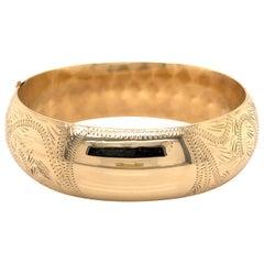 Yellow Gold Engraved Antique Bangle Bracelet