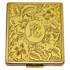 Yellow Gold Engraved Compact with Mirror, circa 1950