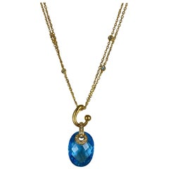 Hammerman Brothers Yellow Gold Faceted Blue Topaz Pendant