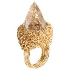 Yellow Gold Faceted Rock Crystal Cocktail Ring by Sheila Westera in Stock