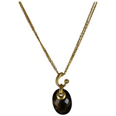 Hammerman Brothers Yellow Gold Faceted Smokey Topaz Pendant