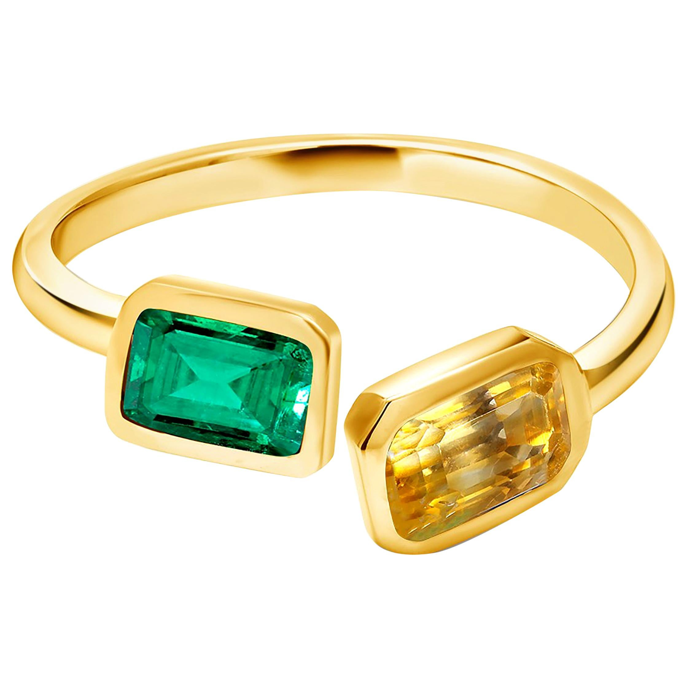 Yellow Gold Facing Open Shank Cocktail Ring with Emerald and Yellow Sapphire