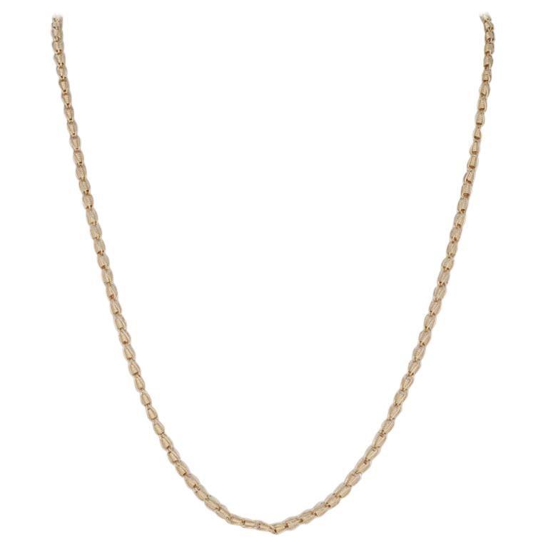 Yellow Gold Fancy Chain Necklace, 14 Karat Women's