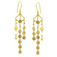 Yellow Gold Festive Coin Chain Drop Earrings