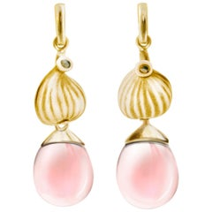 Yellow Gold Fig Cocktail Earrings with Rose Quartzes and Diamonds Feat. in Vogue