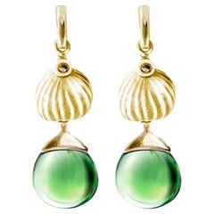 Yellow Gold Fig Fruits Cocktail Earrings with Green Rock Crystals