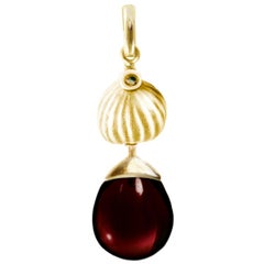 Yellow Gold Fig Necklace Pendant with Garnet, Designed by the Artist