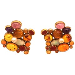 Yellow Gold Fire Opal Amber and Opal Earrings