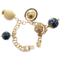 Yellow Gold Five Globe Three Dimensional Charm Bracelet