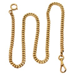 Yellow Gold Flat Curb Style Pocket Watch Chain