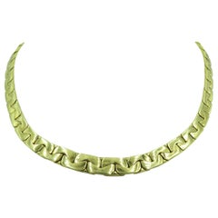 Yellow Gold Flat Link Necklace