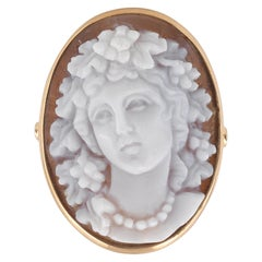Yellow Gold Flora Cameo Ring