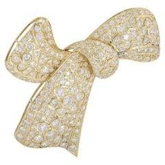 Yellow Gold Flower Design Diamond Set Bow Brooch 10.29 Carat
