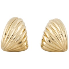 Yellow Gold Fluted Earrings