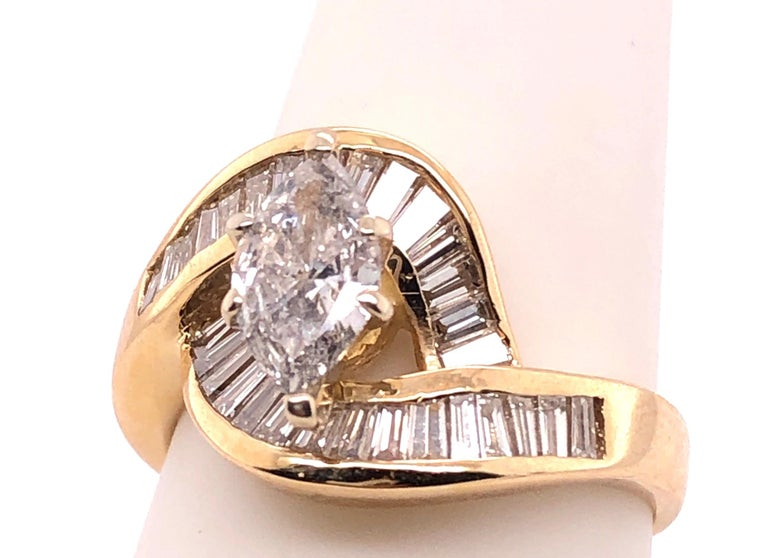 Yellow Gold Free Style Ring with Diamonds For Sale 4