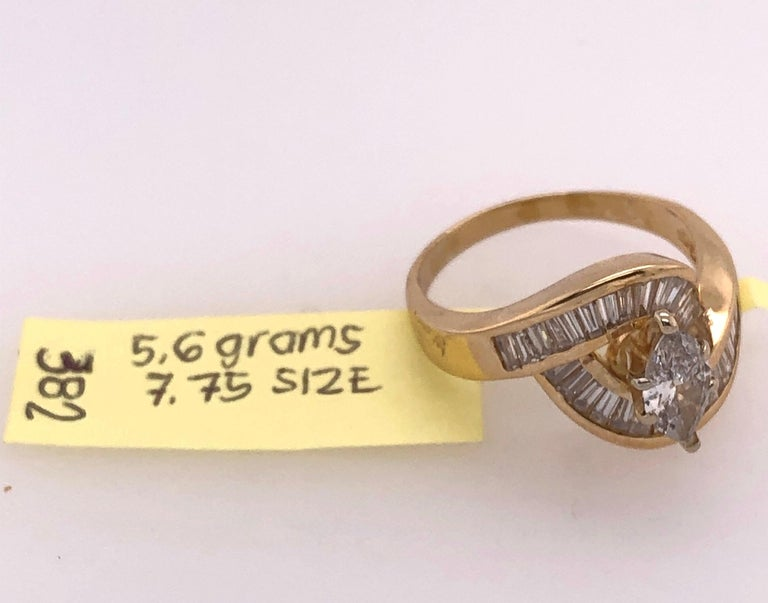 Yellow Gold Free Style Ring with Diamonds For Sale 5