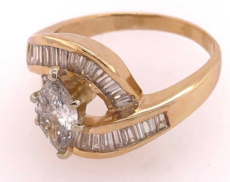 Modern Yellow Gold Free Style Ring with Diamonds For Sale