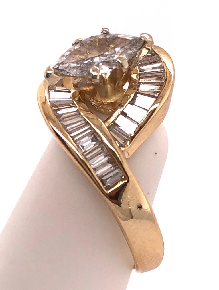 Women's or Men's Yellow Gold Free Style Ring with Diamonds For Sale