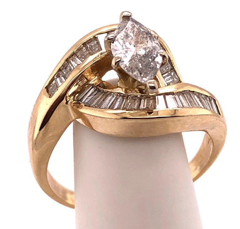 Yellow Gold Free Style Ring with Diamonds For Sale 2