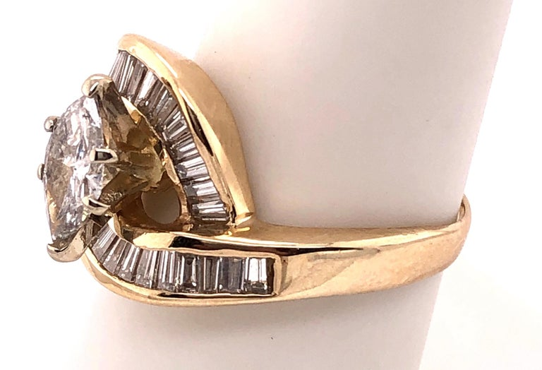 Yellow Gold Free Style Ring with Diamonds For Sale 3