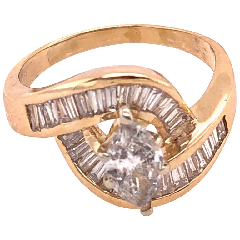 Yellow Gold Free Style Ring with Diamonds For Sale