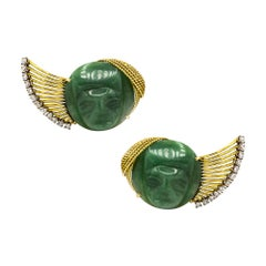 Yellow Gold French Carved Green Jade Faces Diamond Ear Clips Earrings