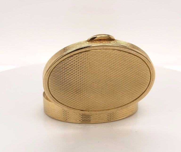 French Oval 18 Karat Yellow Gold Pill Box For Sale 2