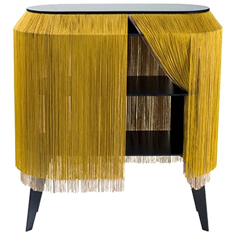 Yellow Gold Fringe Side Table / Nightstand, Made in France For Sale
