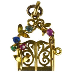 Yellow Gold Gem Set Garden Gates Charm Pendant