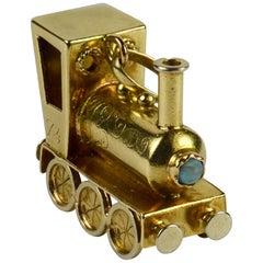 Yellow Gold Gemset Steam Train Engine Charm Pendant