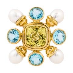 Yellow Gold Gemstone Pearl Brooch