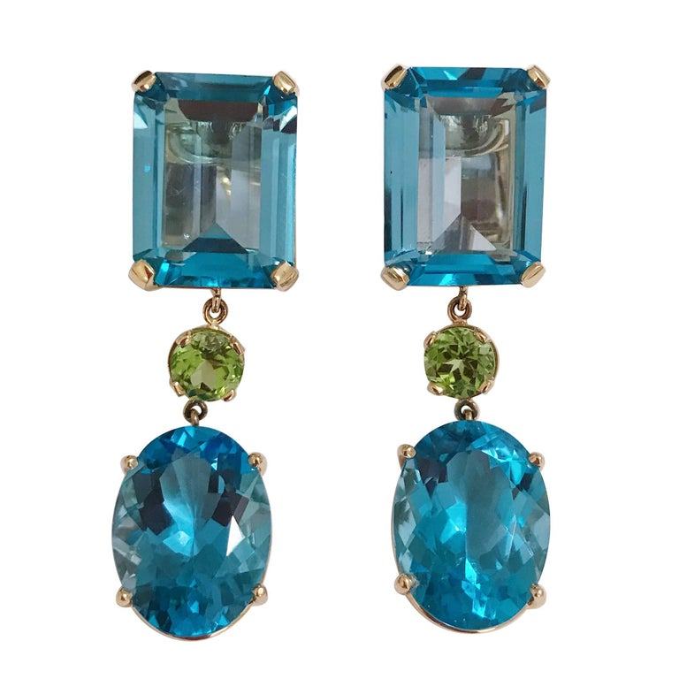 Yellow Gold Geometric Drop Earring with Blue Topaz and Peridot