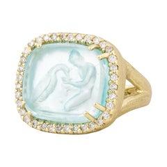 Yellow Gold Glass Intaglio Diamond Ring